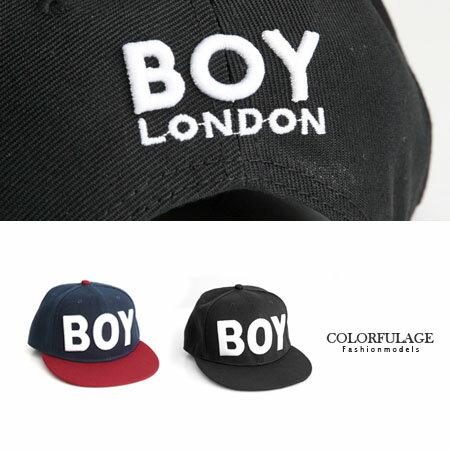 帆布電繡 BOY板帽 棒球帽 中性款潮流英文字 柒彩年代~NH149~東區街頭款