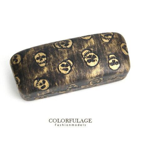 滿版骷髏壓紋仿舊金漆感皮革眼鏡盒 可裝太陽眼鏡.一般眼鏡 柒彩年代~NY261~潮流 單品