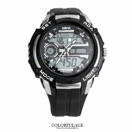 blink雙顯手表 低調黑旋風多 電子錶 型男 專屬 防水100米 柒彩年代~NE1289