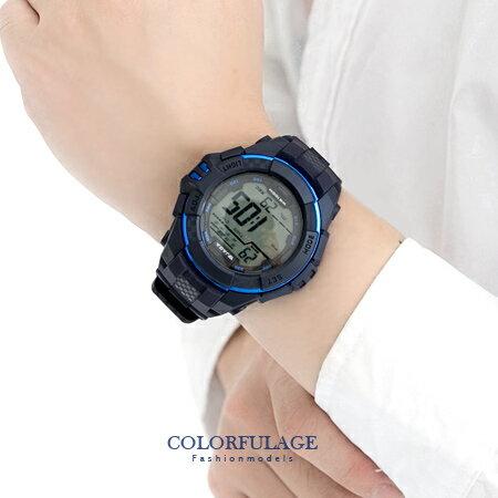 JAGA捷卡 藍色休閒 多 電子錶手錶 輕量無負擔 防水100米 柒彩年代~NE1303~
