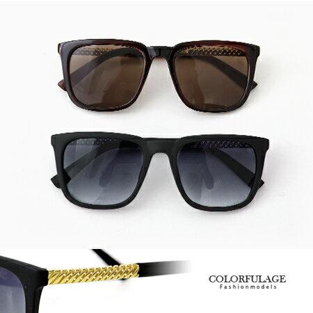 墨鏡 斜紋金邊方框方型太陽眼鏡 時尚款單品 柒彩年代【NY271】單支價格 0