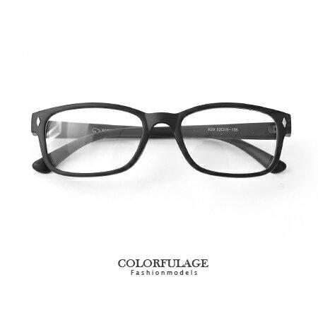 膠框 細版黑色膠框平光眼鏡 百搭中性輕巧膠框 文青風的  柒彩年代~NY276~