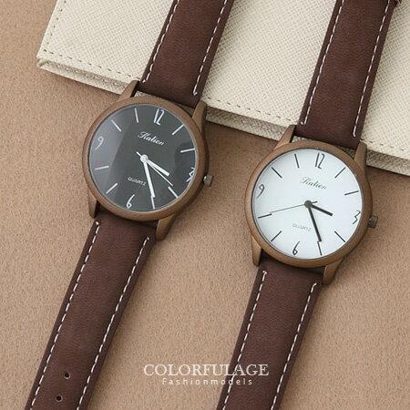 輕巧簡約數字霧面中性手錶 復刻版麂皮錶帶腕錶 柒彩年代~NE1277~單支