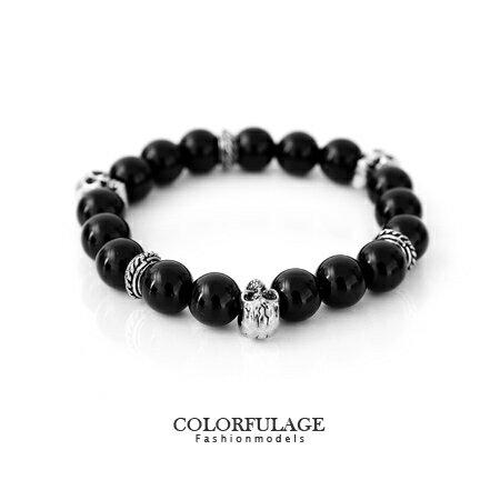 手環 時尚黑色大串珠骷髏頭造型手環手鍊 街頭流行搶眼必備單品 柒彩年代【NA268】單條價格 0