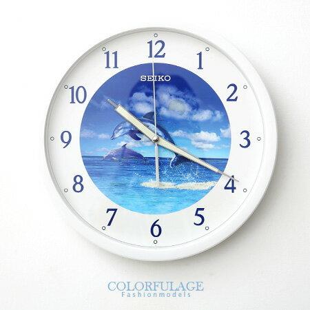 SEIKO精工夜光靜音掛鐘 恆動式秒針時鐘 蔚藍海洋夜光面板 柒彩年代【NE1081】原廠公司貨