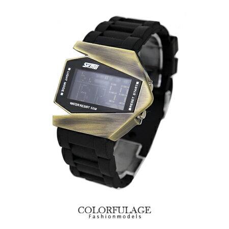 創意搶眼美學 獨特飛機造型防水電子錶 迷彩系列矽膠錶帶 柒彩年代【NE1268】.單支價格 0