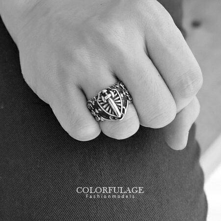 戒指 圓桌武士 長劍盾牌霸氣十足西德鋼戒指 不易氧化退色.抗過敏 柒彩年代【NC167】型男單品 0