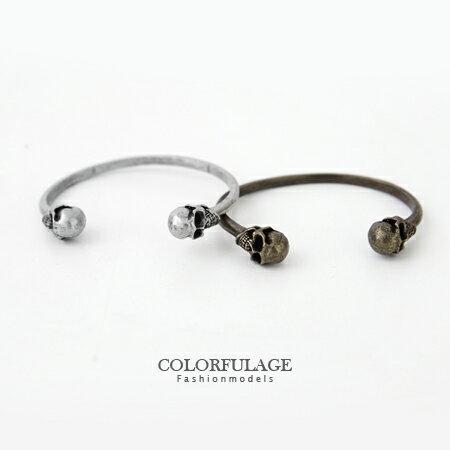 手環 手鍊 復古龐克風雙骷髏 C型開口手環 柒彩年代~NA273~單個