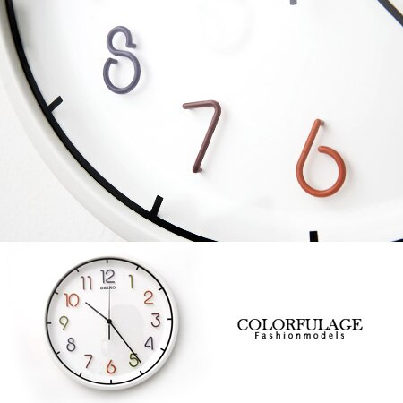 SEIKO精工彩色數字白色掛鐘 恆動式秒針時鐘 立體設計豐富時間 柒彩年代【NE1083】原廠公司貨
