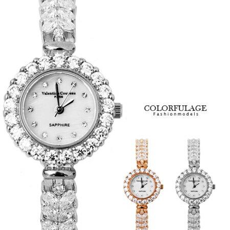 范倫鐵諾Valentino V型晶鑽天然珍珠貝面鑽錶手錶腕錶 原廠公司貨 柒彩年代【NE1298】單支 0