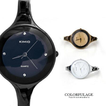 手錶 時尚簡約小資女孩點鑽曲線手環素面腕錶 知性名媛典雅都會風格 柒彩年代【NE1308】單支 0