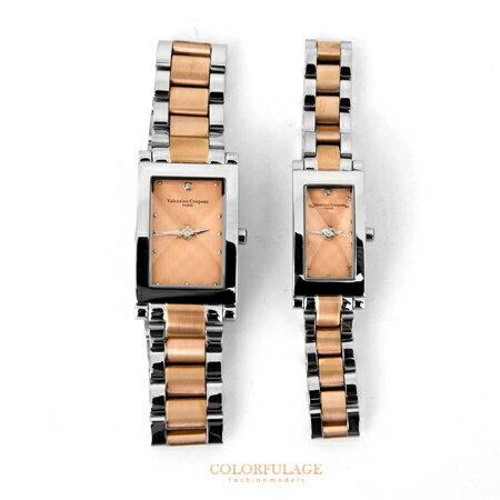 Valentino范倫鐵諾 切割美學 格紋不鏽鋼玫瑰金交錯手錶腕錶對錶 柒彩年代~NE12