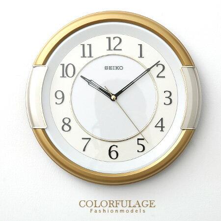 SEIKO精工掛鐘 獨特金銀粗框設計 簡約數字雙圈時鐘 提升居家生活 柒彩年代【NE1085】原廠公司貨