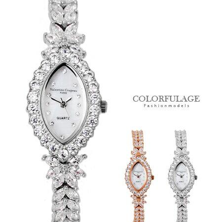 Valentino范倫鐵諾 珍珠貝面方晶鋯石奢華水滴鑽錶 爪鑲水晶鑽手錶 柒彩年代~NE1