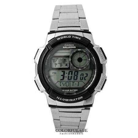 CASIO日本卡西歐手錶 仿飛機儀表板美學多功能腕錶 100M防水設計十年電力 柒彩年代【NE1346】公司貨
