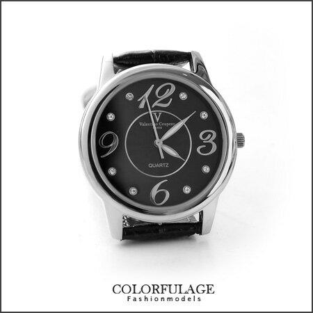 Valentino范倫鐵諾大數字奧地利水鑽真皮手錶腕錶情人對錶柒彩年代【NE1089】原廠公司貨單支