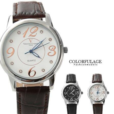 Valentino范倫鐵諾 大數字奧地利水鑽真皮手錶腕錶 情人對錶 柒彩年代【NE1089】原廠公司貨 單支 0