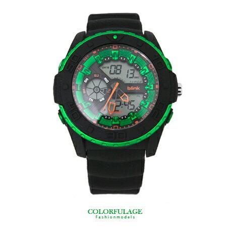手錶 獨特炫彩綠型男雙顯多功能電子錶腕錶 JAGA捷卡blink 防水100米 柒彩年代【NE1310】原廠公司貨