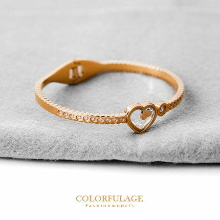 手環 雙心相映玫瑰金鑲鑽波紋曲線造型鈦鋼手環 愛心藏鑽 柒彩年代【NA267】浪漫典雅 0