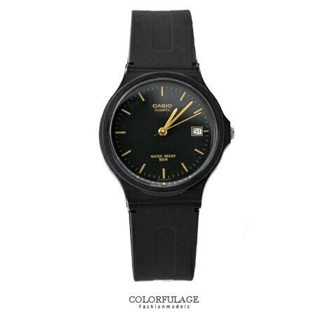 CASIO卡西歐經典基本款手錶 金色刻度中性款日期窗腕錶 超輕巧設計 柒彩年代【NE1331】原廠公司貨