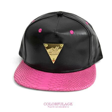 棒球帽潮帽 板帽平沿帽hiphop嘻哈街舞帽 亮眼桃紅金牌三角皮革蛇紋帽 柒彩年代【NH165】可調節帽 0