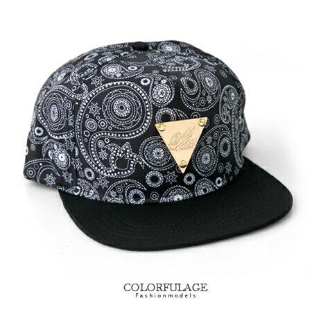 嘻哈街舞帽棒球帽潮帽 hiphop板帽平沿帽 經典變形蟲圖騰 金牌三角 柒彩年代【NH168】可調節帽 0