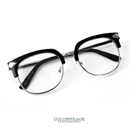 半框眼鏡 簡約中性方框箭頭造型眼鏡 日系新款經典黑色系 柒彩年代【NY280】單支價格 0