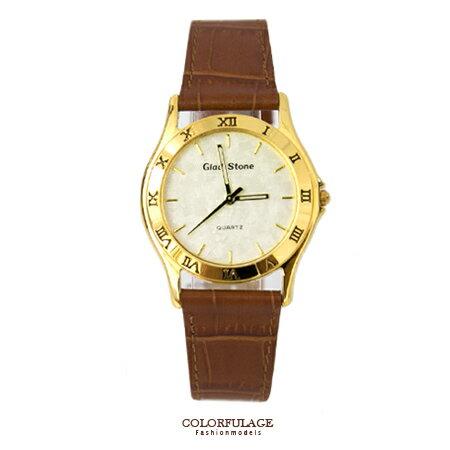 手錶 經典款羅馬數字金屬錶框咖啡皮革錶帶手錶 時尚簡約復古風格 柒彩年代【NE1313】單支 0