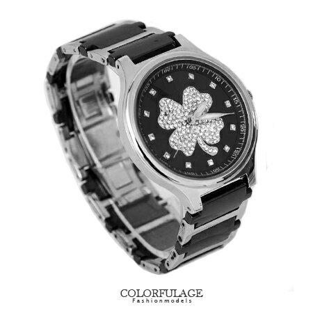 Valentino范倫鐵諾 幸運草水鑽精密陶瓷不鏽鋼手錶腕錶 原廠公司貨 柒彩年代【NE1315】單支