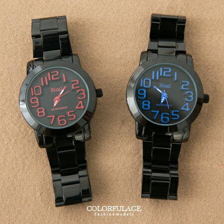 手錶 立體浮雕刻度數字 金屬腕錶 繽紛多色中性款  柒彩年代~NE1343~單支