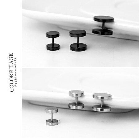 素面耳環 圓形極簡黑中性耳針 基本款鋼製材質抗過敏 好搭配個性單品 柒彩年代【ND181】單顆 0