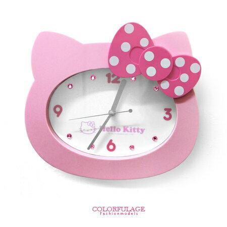 時鐘Hello kitty掛鐘 超靜音秒針 凱蒂貓 立體兒童時鐘 台灣製造 柒彩年代【NE1373】原廠公司貨 0