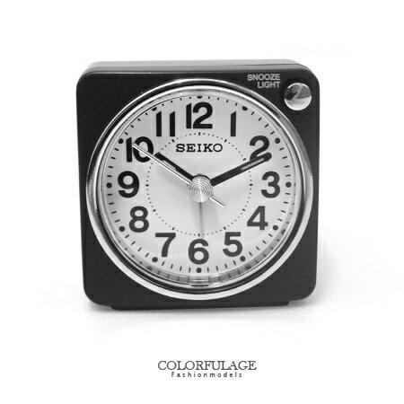 SEIKO精工鬧鐘 輕巧迷你造型 微亮彩磨砂感全黑LED照明小鬧鐘 柒彩年代【NE1374】原廠公司貨