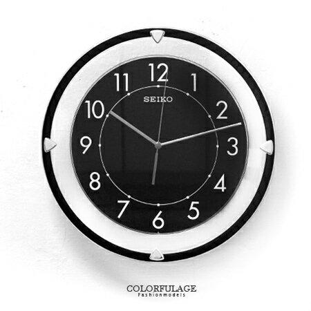SEIKO精工時鐘 全黑色系鏤空典雅風格 滑動式指針掛鐘 靜音時鐘 柒彩年代【NE1378】原廠公司貨