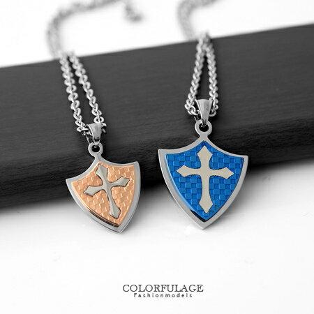 項鍊 經典不敗款格紋盾牌十字架鋼墜項鍊 西德鈦鋼專櫃材質 柒彩年代【NB560】贈鋼鍊 0