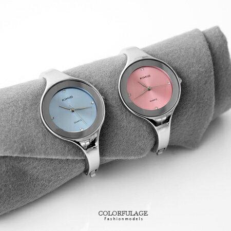 手錶 時尚簡約小資女孩點鑽曲線手環素面腕錶 知性名媛典雅都會風格 柒彩年代【NE1308】單支