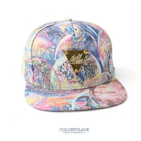 美式嘻哈 迷幻油畫感花紋面料設計 板帽 棒球帽 平沿帽 可調式頭圍 柒彩年代【NH177】中性款 0
