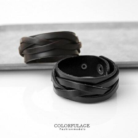 玩酷份量感 寬版皮革編織造型手環 中性款 柒彩年代【NA300】單條 0