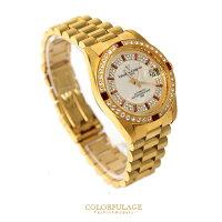 父親節禮物推薦范倫鐵諾Valentino 全金色系滿天星珍珠貝面錶盤背面鏤空自動上鍊機械手錶 柒彩年代 【NE1357】原廠