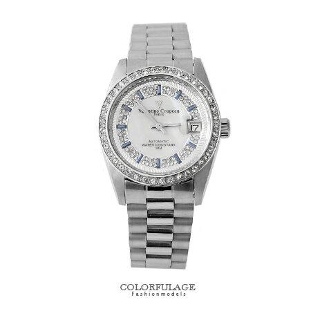 范倫鐵諾Valentino 背板鏤空自動上鍊機械手錶 銀色滿天星珍珠貝面腕錶 柒彩年代 【NE1360】原廠 0