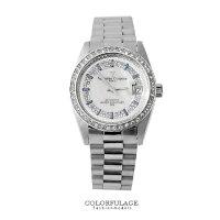 父親節禮物推薦范倫鐵諾Valentino 背板鏤空自動上鍊機械手錶 銀色滿天星珍珠貝面腕錶 柒彩年代 【NE1360】原廠