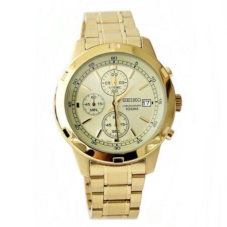 SEIKO 精工三眼計時賽車錶 金色系暢銷的明星 不鏽鋼 ~NE1363~附贈 提袋