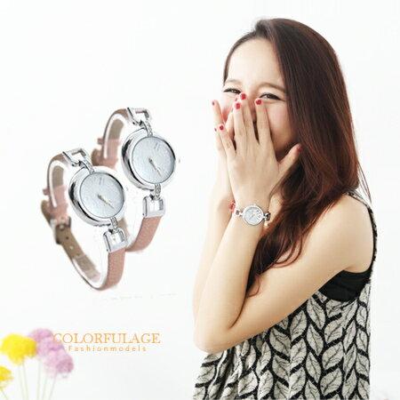 柒彩年代【NE354】氣質女孩愛心水鑽鏤空婉錶設計皮革手錶 玫瑰金經典色系 0