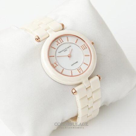 范倫鐵諾Valentino 精密全彩陶瓷羅馬數字刻度珍珠貝面手錶腕錶 柒彩年代【NE1354】原廠公司貨 0