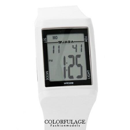 手錶 JAGA 捷卡都會時尚風多功能電子錶 低調純白色系 型男防水100米~柒彩年代【NE423】原廠公司貨