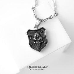 項鍊 十字架神秘骷髏盾牌造型個性項鍊 立體感中性款骷髏頭墜飾 柒彩年代【NB639】龐克風潮