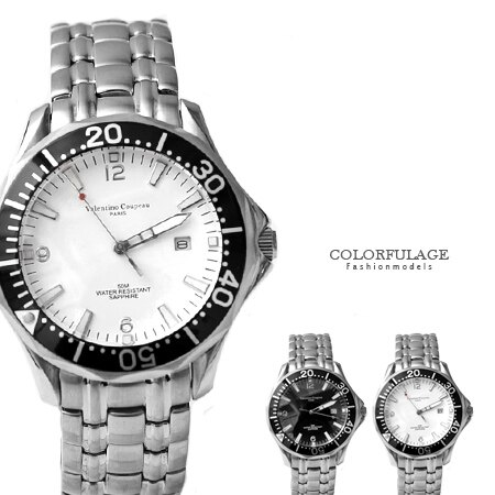 范倫鐵諾Valentino 可旋轉外框設計不鏽鋼手錶 藍寶石水晶 原廠公司貨 柒彩年代【NE1385】單支 0