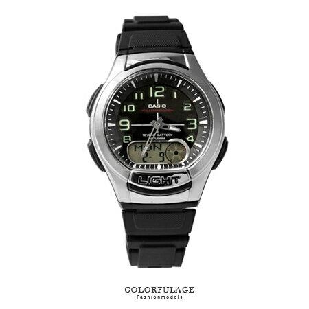 CASIO 卡西歐十年電力手錶 路跑 黑色雙顯腕錶膠錶 有 店家 柒彩年代~NE1388~