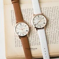 情人對錶推薦到手錶推薦 玫金圓框羅馬數字簡約小刻度造型手錶 復古風格錶款【NE1392】單支就在柒彩年代推薦情人對錶