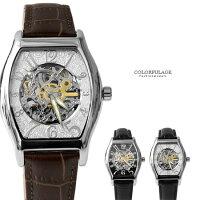 父親節禮物推薦范倫鐵諾Valentino自動上鍊機械腕錶 經典酒桶真皮皮革手錶 背板鏤空設計 柒彩年代 【NE1399】原廠